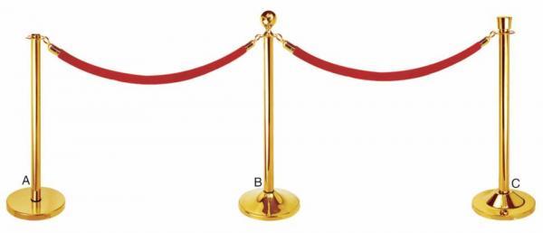 Cho thuê barie cột inox vàng dây nhung đỏ