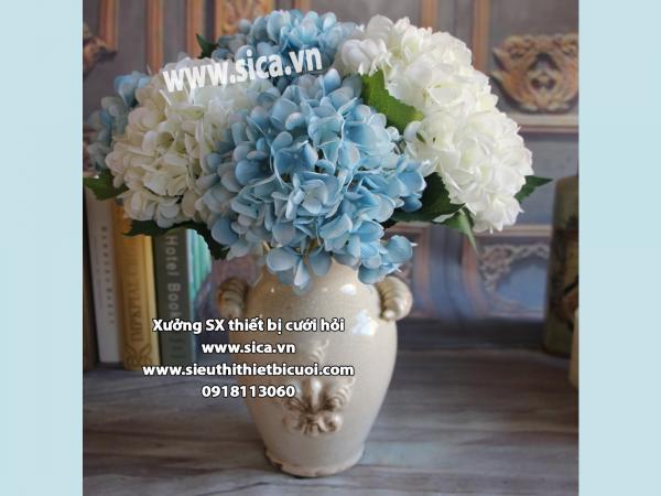 Hoa Lụa trang trí phòng khách - Cẩm Tú cầu