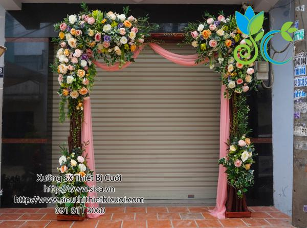 Cổng hoa tông màu hồng cam