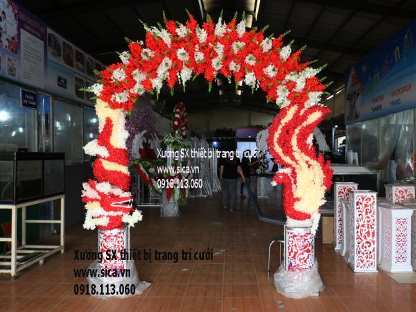 Cổng cưới rồng phụng kết hoa Lan chuỗi hạt