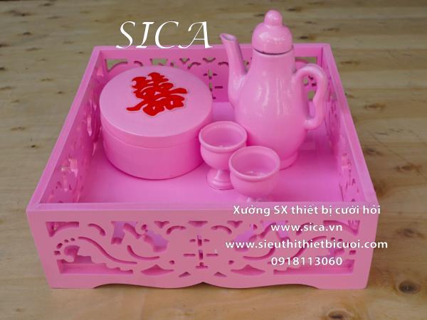 khay tràu rượu CNC màu hồng