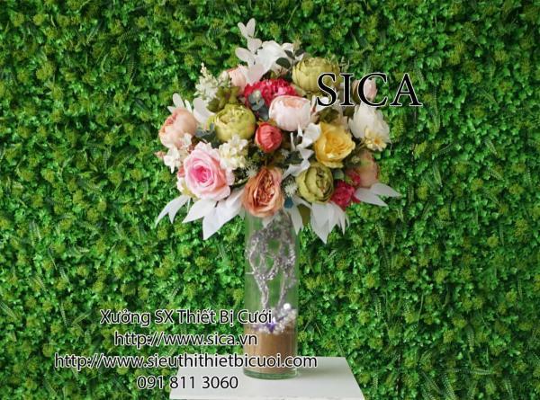 Bình hoa thủy tinh trang trí tiệc cưới