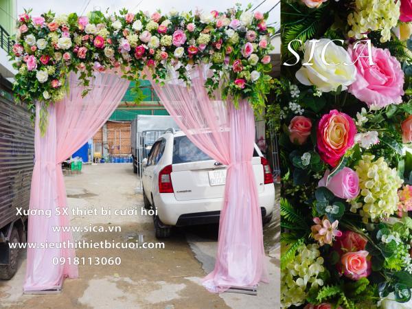 Cổng hoa cưới hoa hồng có rèm