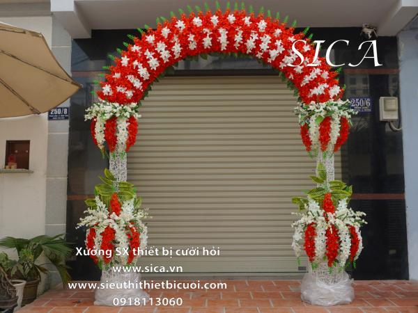 Cổng hoa cưới hoa lan đỏ