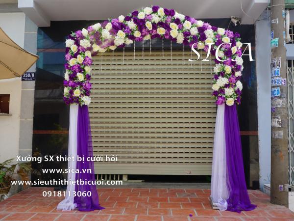 Địa chỉ bán cổng hoa đám cưới mới đẹp màu tím