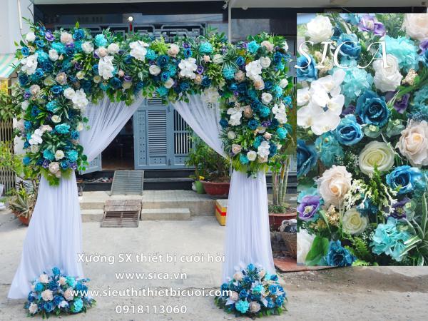 Cổng vuông hoa xanh biển
