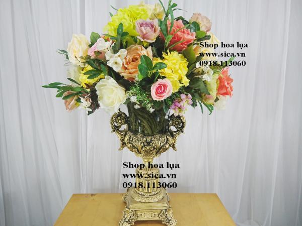 Bình hoa để bàn poly, hoa Thái cao cấp