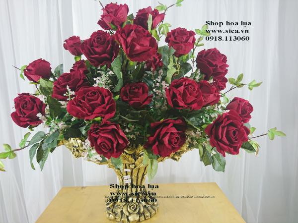 Bình hoa hồng nhung cao cấp