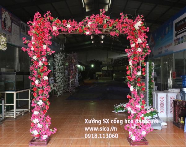 Cổng hoa cưới hoa giấy đỏ