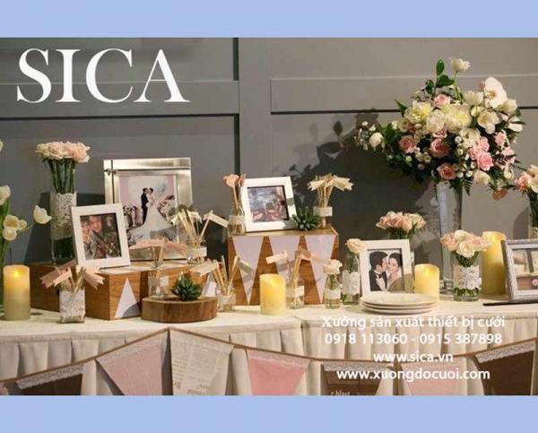 Chuyên sản xuất bàn gallery tiệc cưới mới nhất