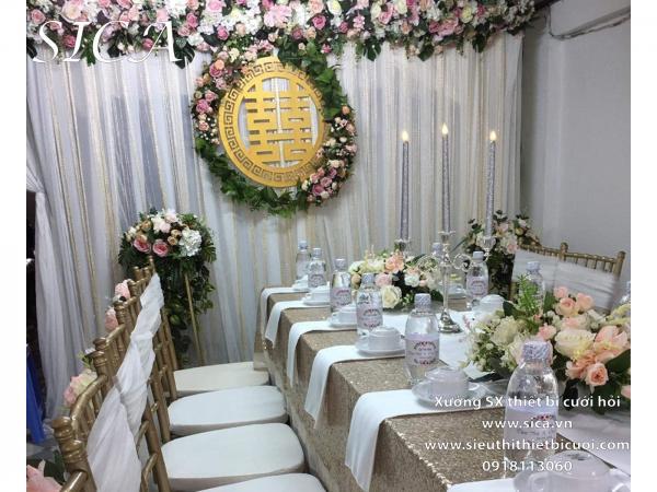 Chổ bán backdrop bàn gia tiên đám cưới