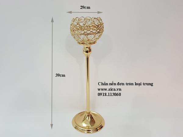 Chân nến mạ vàng loại đơn tròn loại trung