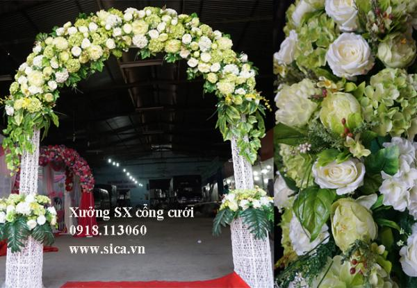 Cổng cưới lục bình đôi - xanh cốm