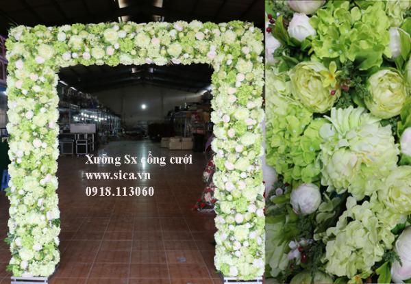 Cổng hoa đám cưới đầu vuông xanh cốm