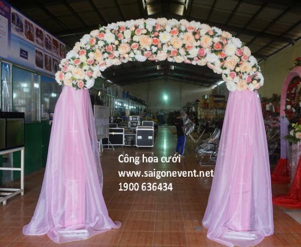 Cổng hoa đám cưới chân voan, hoa mới nhất
