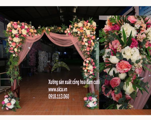 Cổng hoa cưới cao cấp màu pastel