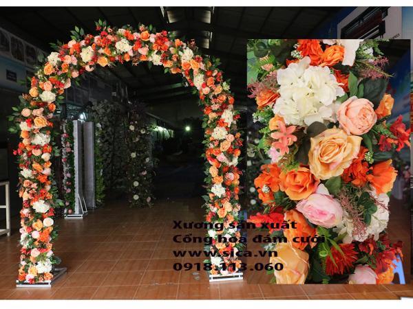 Cổng hoa đám cưới màu cam
