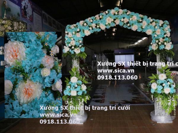 Cổng hoa đám cưới kiểu mái nhà xanh ngọc