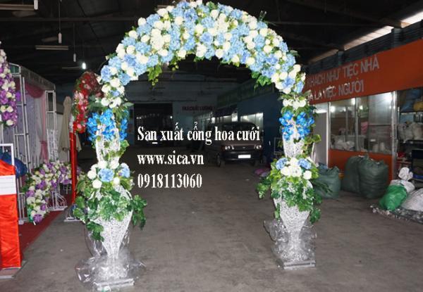 Cổng hoa cưới, cổng hoa giả màu xanh biển