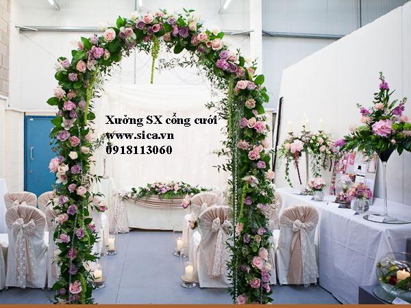 Cổng hoa đám cưới sân vườn đẹp