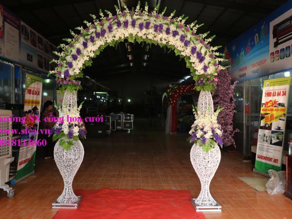 Cổng hoa chân lục bình đôi màu tím trắng