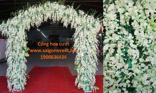 Cổng hoa vũ nữ màu trắng