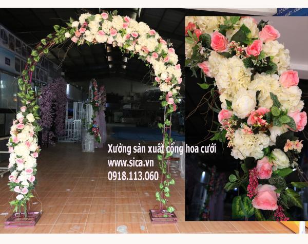 Cổng hoa cưới sang trọng, tông màu cổ điển