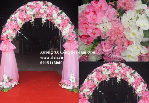 Cổng hoa cưới màu hồng