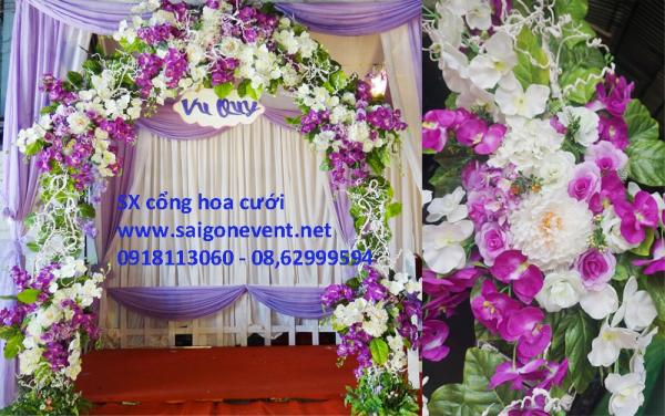 Cổng cưới hoa lan tím trắng