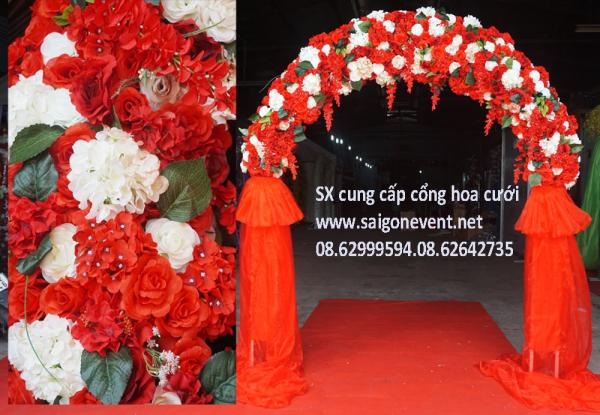 Cổng cưới chân voan màu trắng đỏ