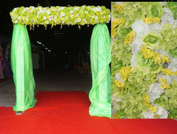 Cổng hoa xanh cốm khung ngang