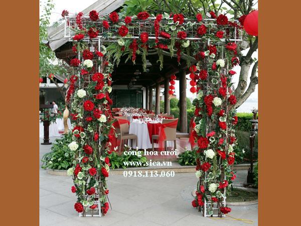 Cổng hoa cưới hoa hồng