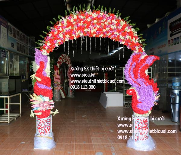 Cổng hoa cưới rồng phụng