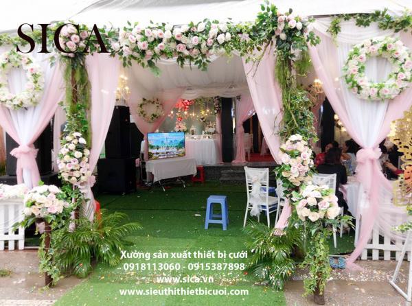 Nơi bán cổng hoa cưới hoa vải lụa
