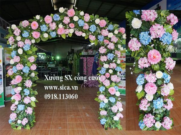 Cổng hoa cưới khung mái nhà kết hoa Cẩm Tú Cầu