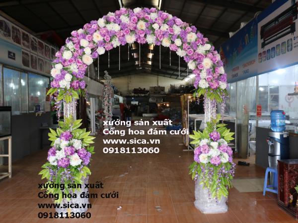 Cổng hoa đám cưới trắng tím - Hoa Thái