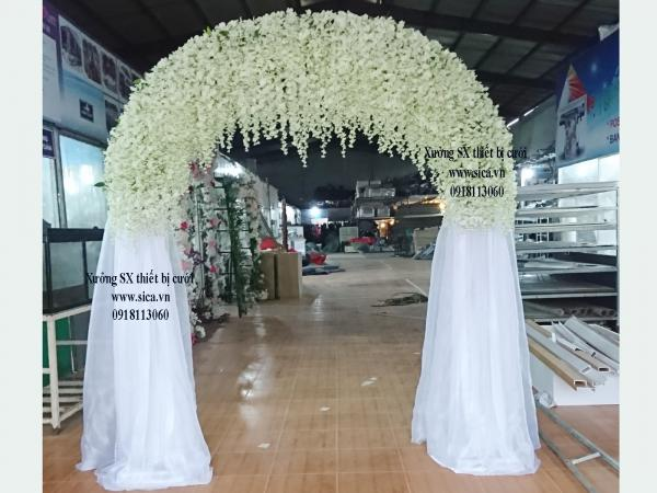 Cổng hoa cưới hoa tử đằng trắng