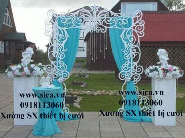 Nơi sản xuất bán cổng hoa CNC kết hợp rèm xanh