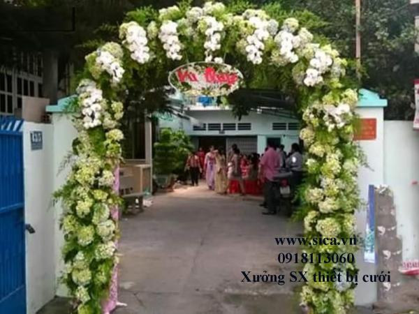 Cổng hoa cưới màu xanh cốm bán giá rẻ