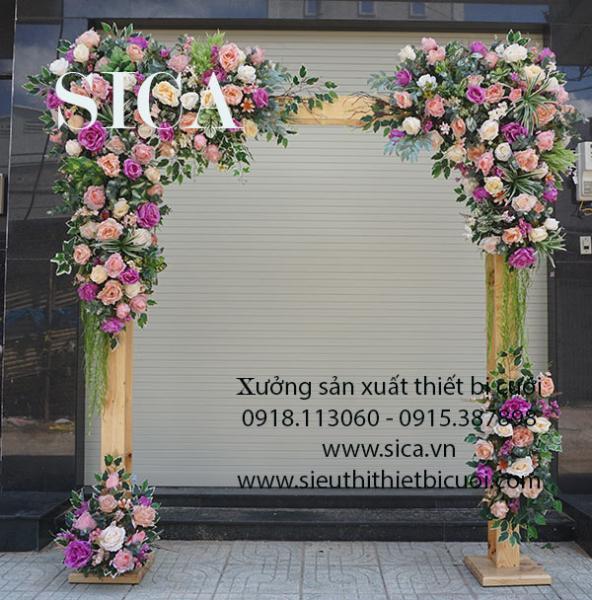 Giá bán cổng hoa đám cưới khung gỗ tự nhiên