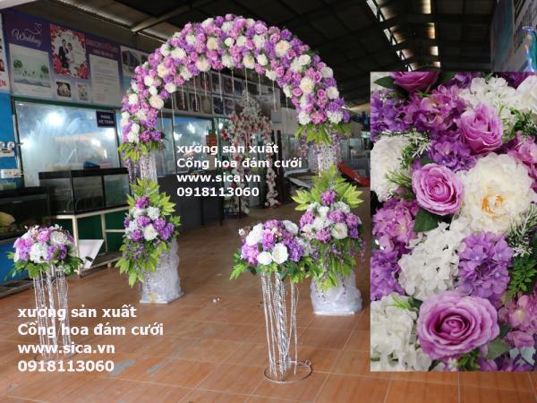 Bộ cổng hoa và chân trụ hoa lối đi trắng tím
