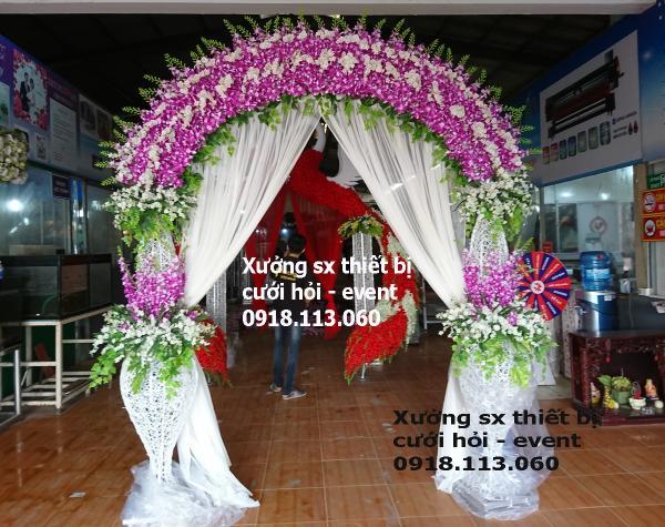 cung cấp mua ban Cổng hoa đám cưới lan tím trắng