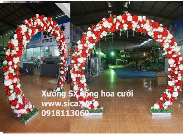Sản xuất cung hoa cưới tròn bầu màu đỏ trắng