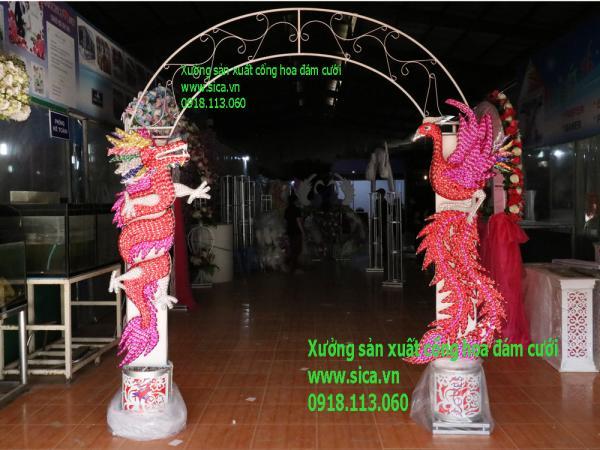 Khung cổng hoa cưới rồng phụng chưa kết hoa