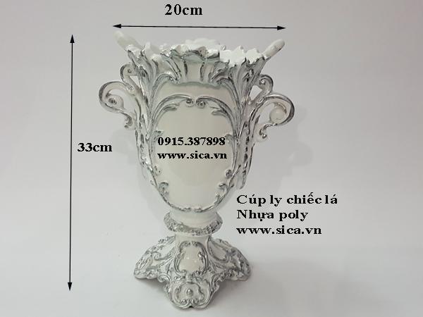 Bình hoa nhựa poly cổ điển chiếc lá màu trắng