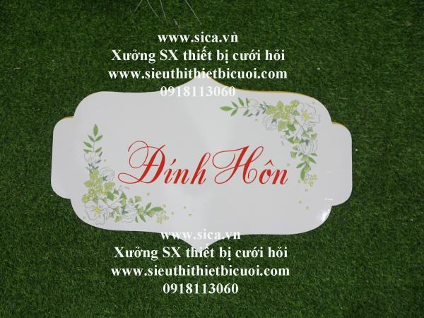 Bảng tên thiết kế chữ Đính Hôn treo cổng hoa cứới nền trắng