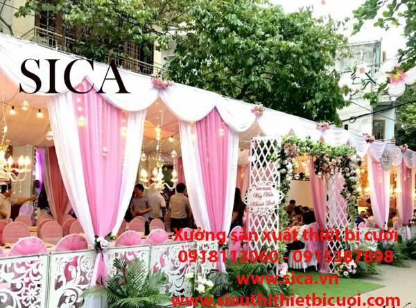 Gia bán nhà rạp đám cưới kết và rèm voan lụa