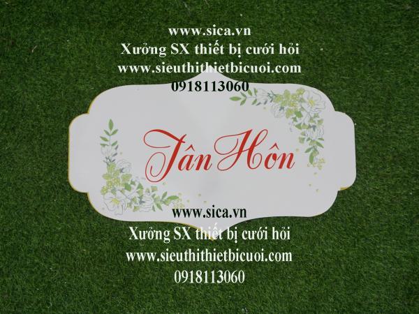 Bảng tên thiết kế chữ Tân Hôn treo cổng hoa cứới Hoa xanh