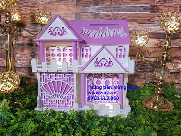 Thùng tiền mừng cưới ngôi nhà 2 tầng màu tím cà