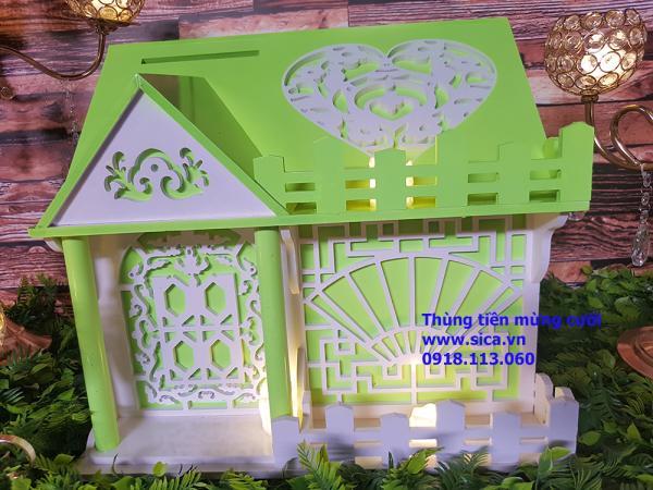 Thùng tiền mừng cưới ngôi nhà 1 tầng màu xanh cốm trăng